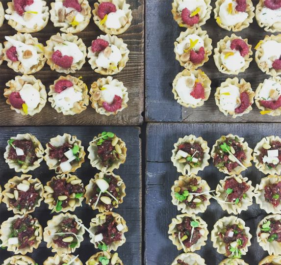 Phyllo cups with Beekeeper Burrata + Beef Tartare (great for passed appetizers!)