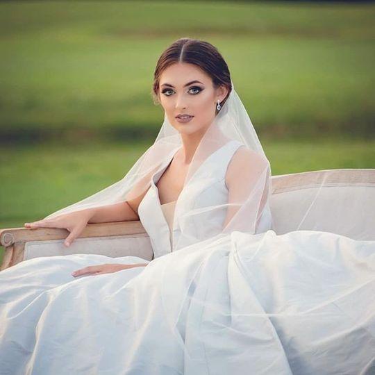 Bride in a sea of green