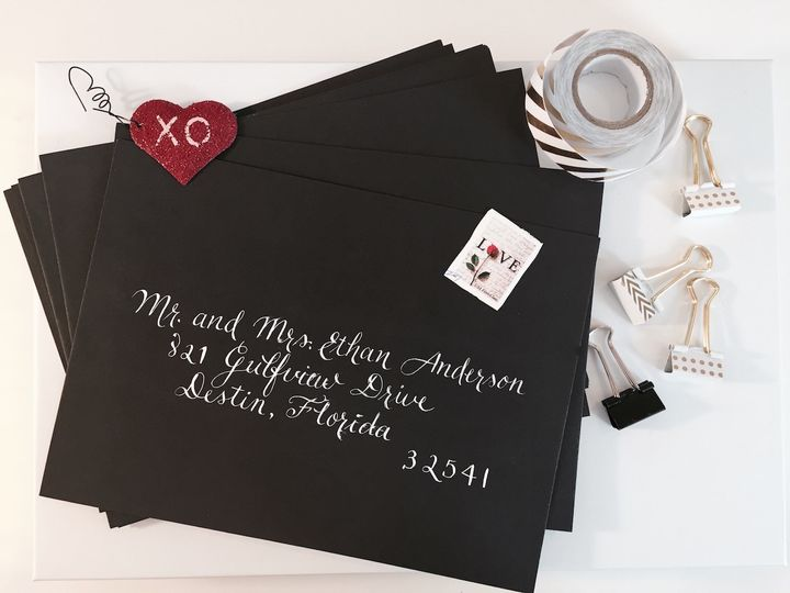 Black Envelope with white ink