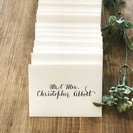Escort cards in Modern Calligraphy.