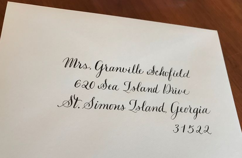 Wedding envelope addressed in Modern Calligraphy.