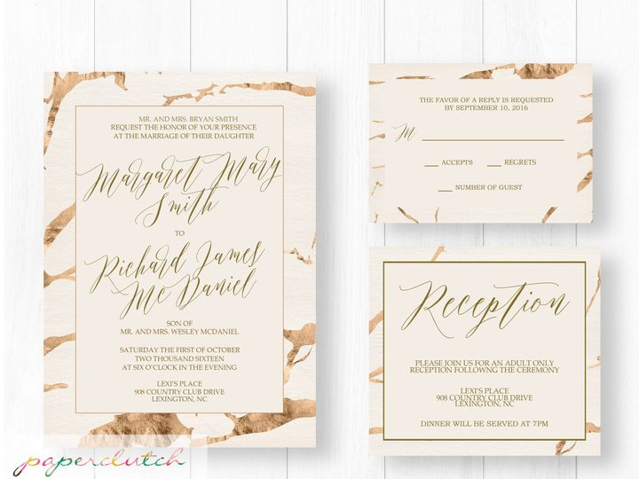 Tmx 1476884585690 Marblegold Thomasville wedding invitation