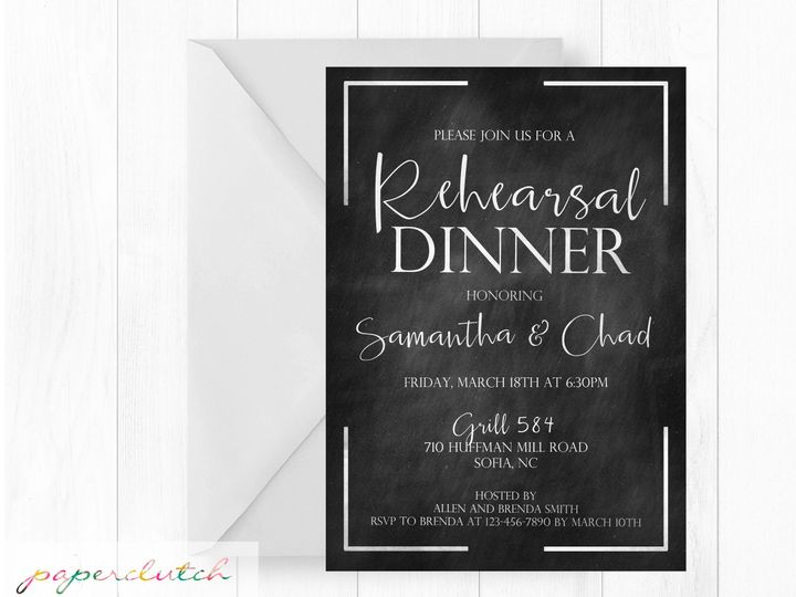 Tmx 1483541365378 Rehersaldinnercalk Thomasville wedding invitation