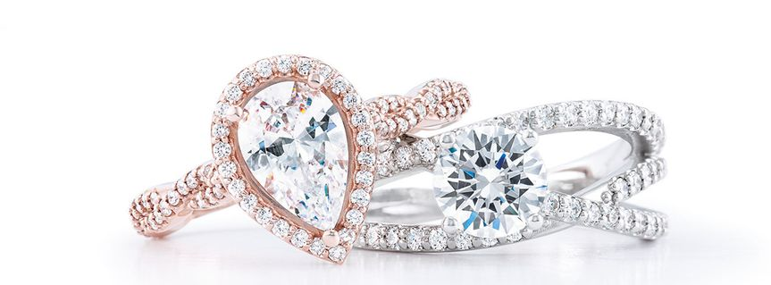 Rose gold pear-cut diamond ring and Side Stone Solitaire with round-cut diamond