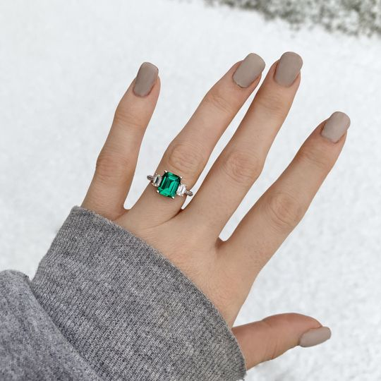 Three-Stone emerald ring