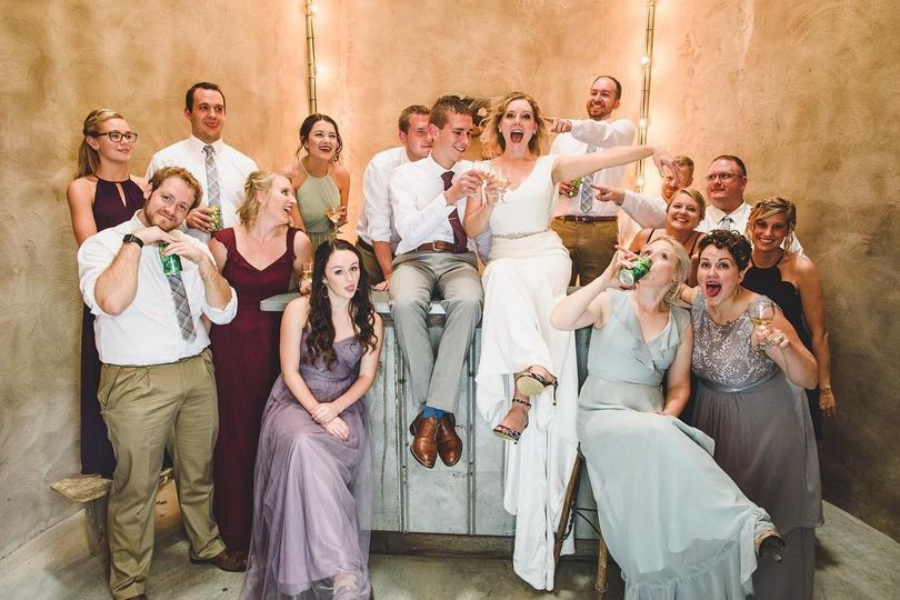 Bridal party with local beers
