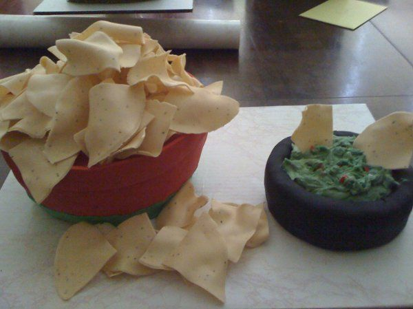 Chips and Guacamole. Chips are sugar and cake is the bowl