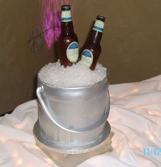 Beer bottles are made of sugar and the cake is the bucket.