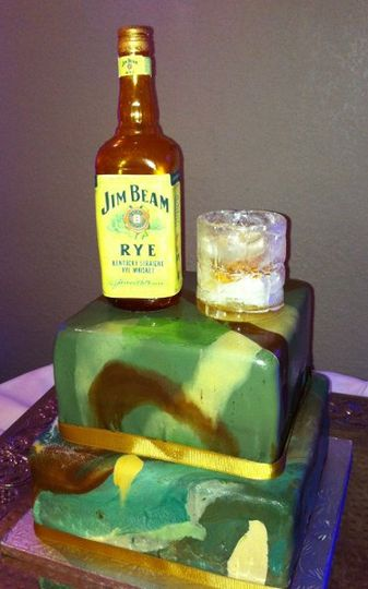 Jim Beam bottle and glass are made of edible sugar.