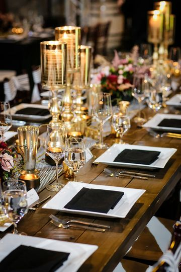 Table setup with decorated centerpiece
