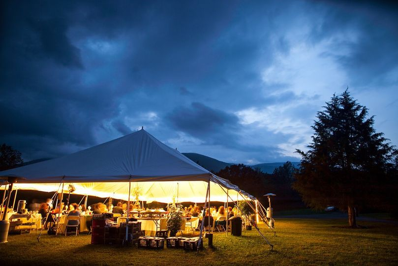 Outdoor reception on the lawn