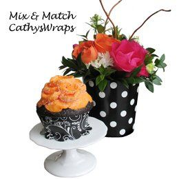 Mix and match coordinating flowers with cupcakes, candies, nuts, whatever suits your fancy.