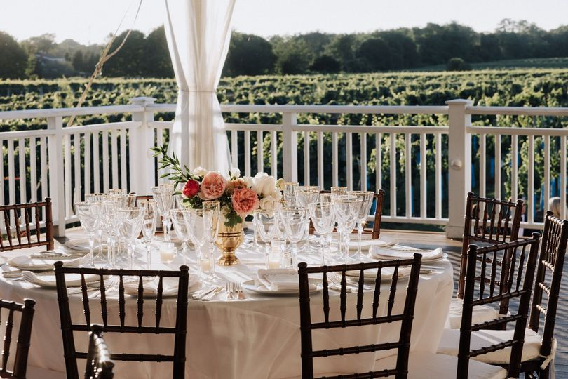 Table set for a vineyard wedding