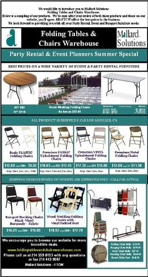 Party Rental & Event Planners Summer Special featuring Folding Tables, Stack and Folding Chairs and...