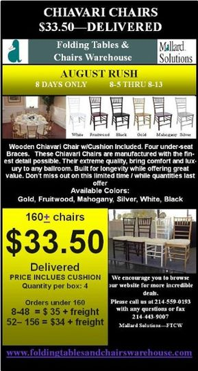 CHIAVARI CHAIR - AUGUST RUSH PROMO RUNS AUG 5-13  $33.50 Delivered with purchase of 160+ Chairs