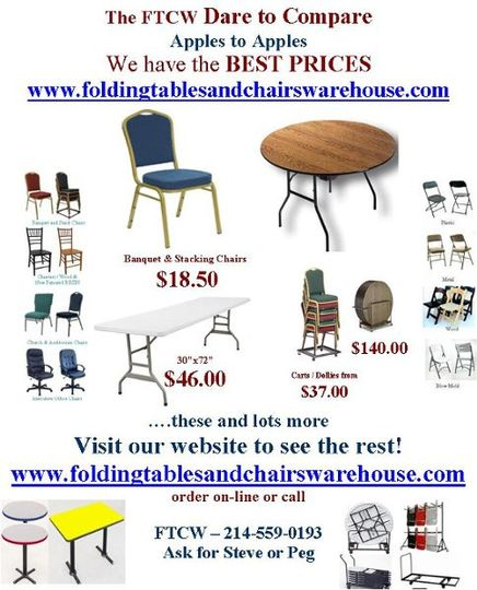 The Mallard Solutions - Folding Tables and Chairs Warehouse - Dare to Compare Challenge.