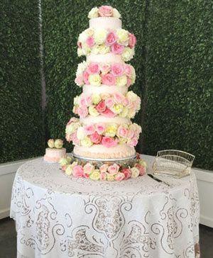 Rosey waterfall wedding cake details