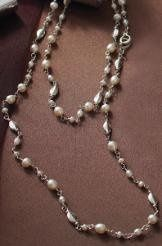 "Love pearls but want to deviate from the "" standard"" ? This is the pearl necklace for you. Can be..."