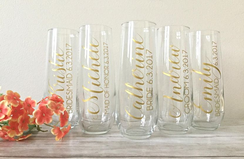 Champagne flutes with title and date - $10