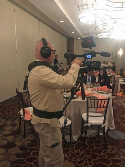 Filming Vee & Pitch's reception