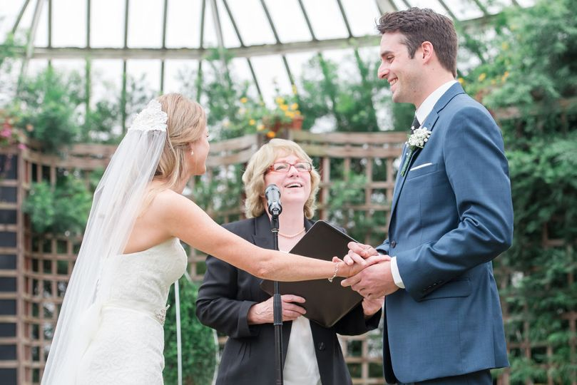 Chelsea Traurig & Alex Fortney, married by Rev. Marguerite Rafalko at Phipps Conservatory &...