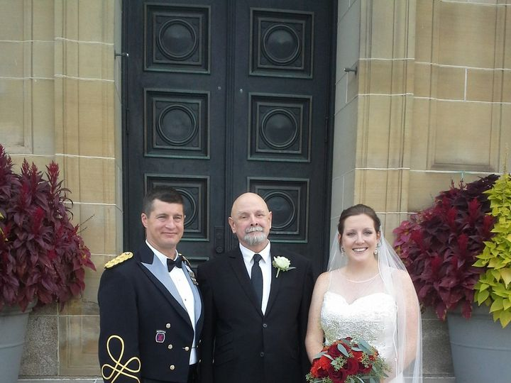 Tmx 1480441414805 Katie And Adam Giroux With Henry Carnegie wedding officiant