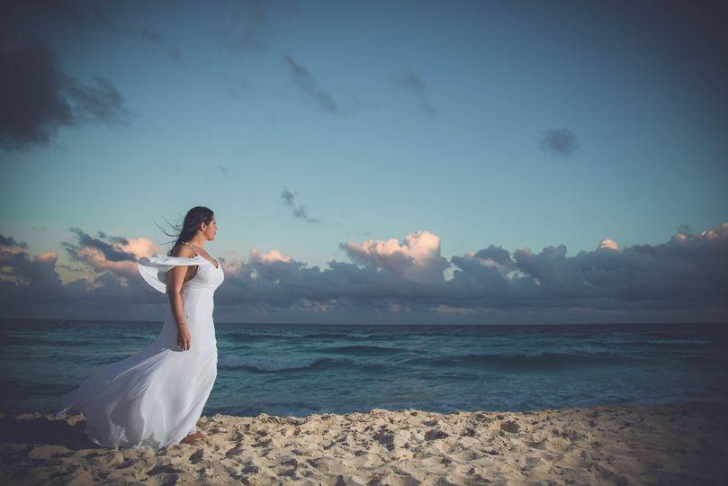 Bride after wedding ceremony