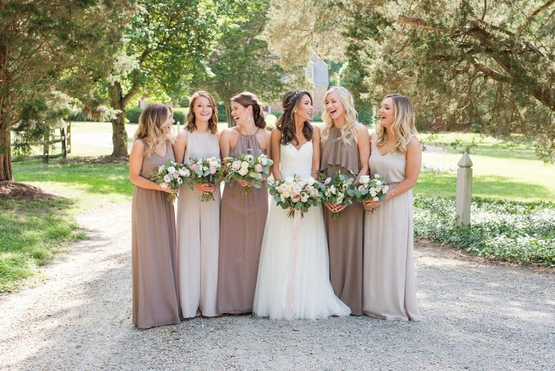 Bridesmaids at estate wedding