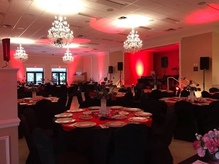Reception with red uplighting