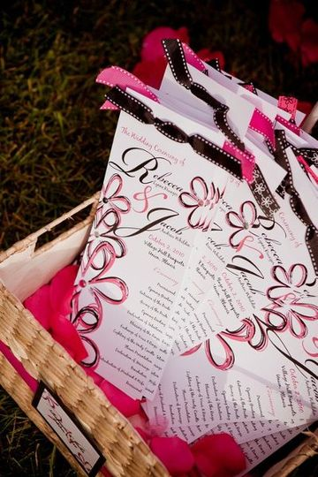 Tea-length Wedding Programs featuring ribbon and rhinestones.