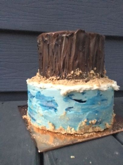 A textured beach themed cake