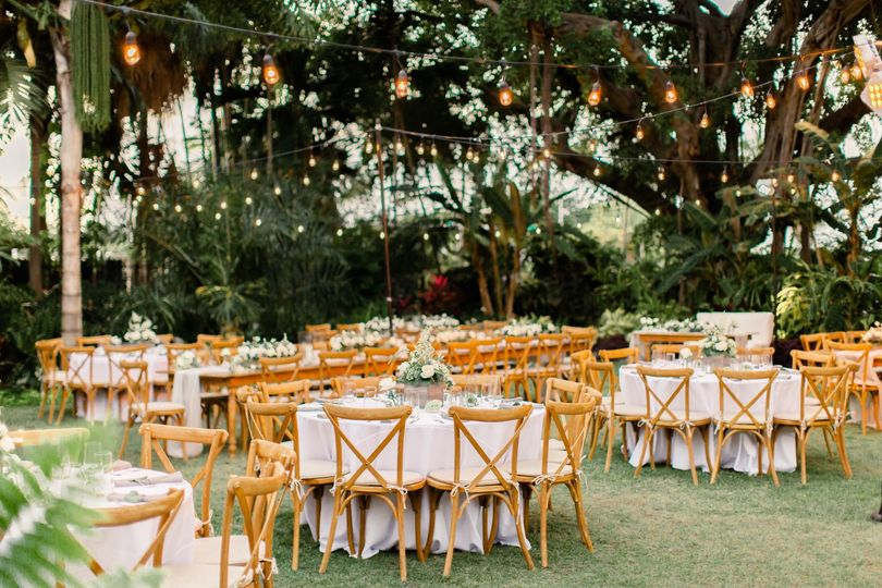Reception in botanical garden