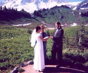 Officiating first wedding for friends on Mt. Rainier WA