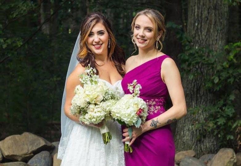 Bride and bridesmaid hair