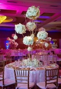This beautiful centerpiece is designed wit white Hydrangea and Roses.
