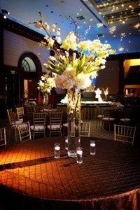 tulips and hydrangea tall centerpiece 300