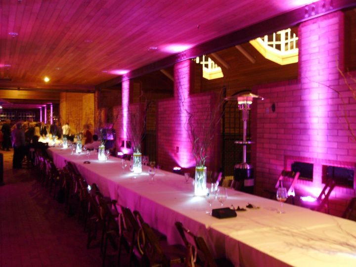 This horse stall was 200 feet long. The uplighting really helped accent the dinning area. Dancing...