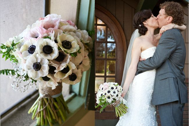 This hand tied bouquet of anemones was designed to pick up the pale pink in the bride's gown.