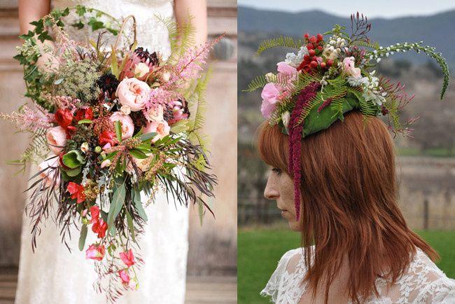 Hand tied bohemian bouquet.