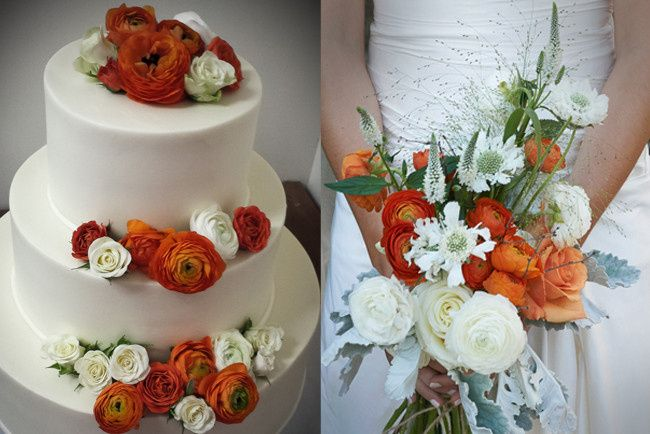 Rustic hand tied bridal bouquet and cake flowers
