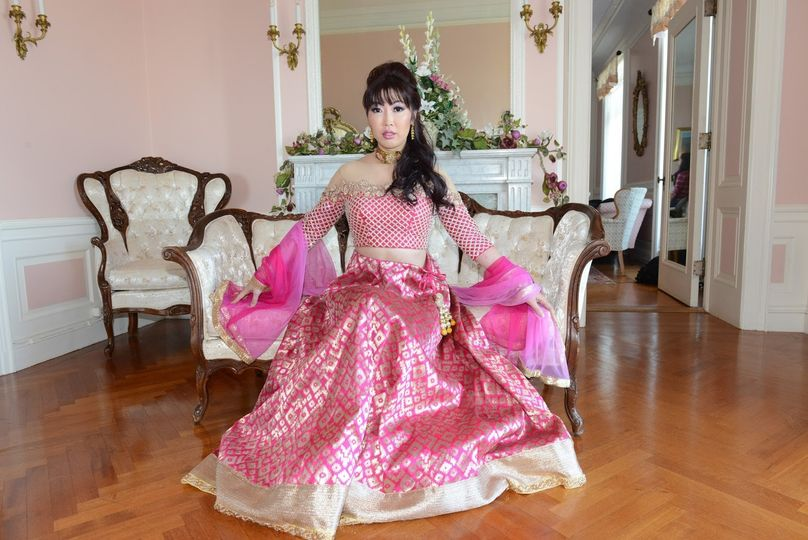 Bride in a pink gown