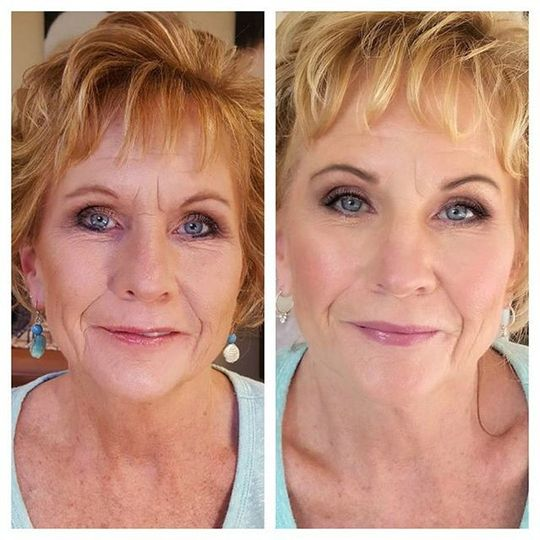 Makeup before and after the before picture is a trial with someone else for a lot less. The one on...