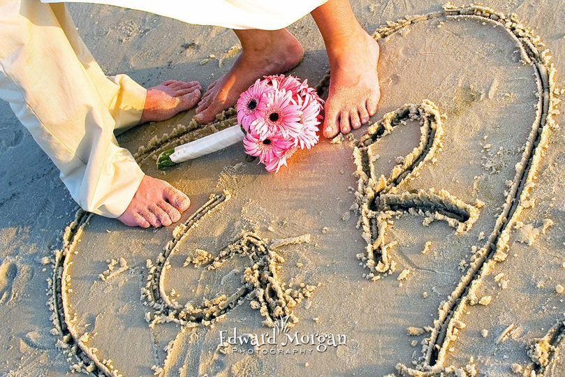 Heart decor on sand
