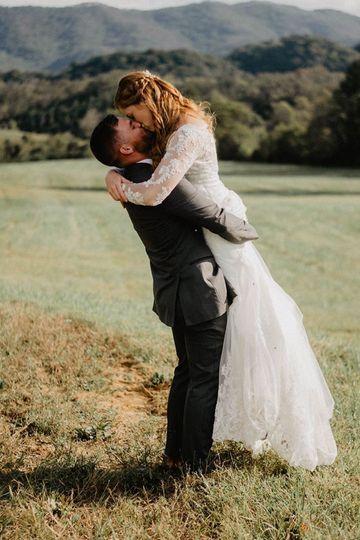Newlywed embrace