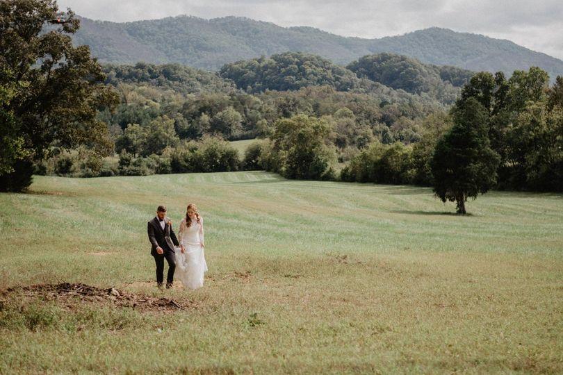 Newlyweds stroll