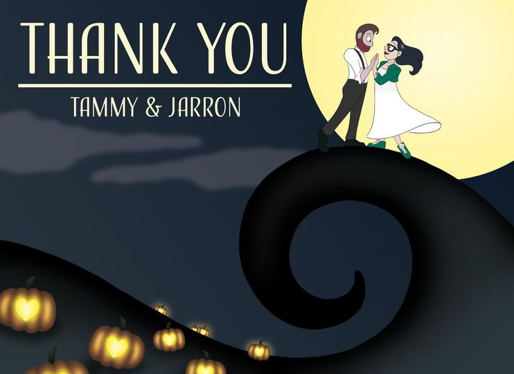 """A """"Nightmare Before Christmas"""" inspired Invitation we created for Tammy & Jarron's wedding."""