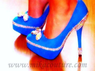 """Something Blue"" Pumps with Crystals $160.00"