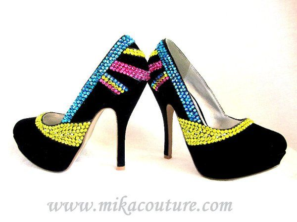 Crystalized Rainbow Pumps $180
