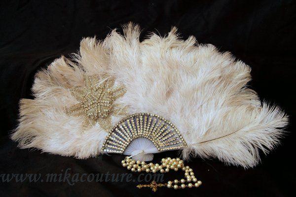 Ostrich Feather Fan withSwarovski Crystals $200.00
