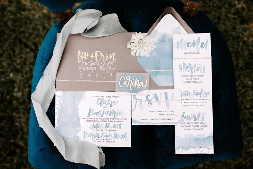 Watercolor invitation blue